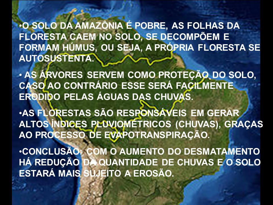 O SOLO DA AMAZÔNIA É POBRE, AS FOLHAS DA FLORESTA CAEM NO SOLO, SE DECOMPÕEM E FORMAM HÚMUS, OU SEJA, A PRÓPRIA FLORESTA SE AUTOSUSTENTA.