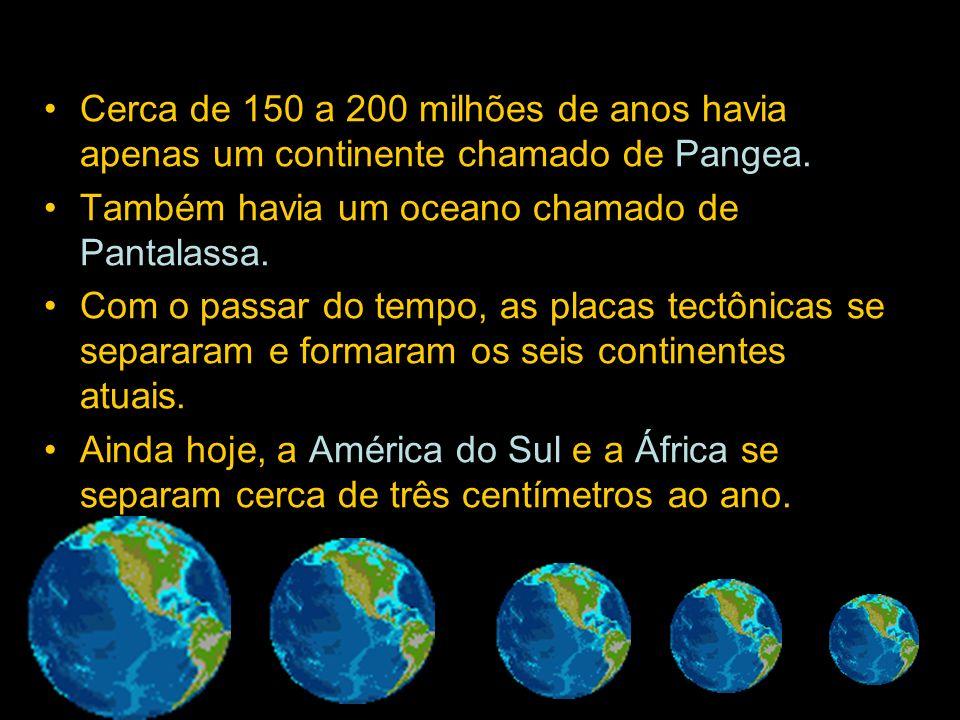 Cerca de 150 a 200 milhões de anos havia apenas um continente chamado de Pangea.