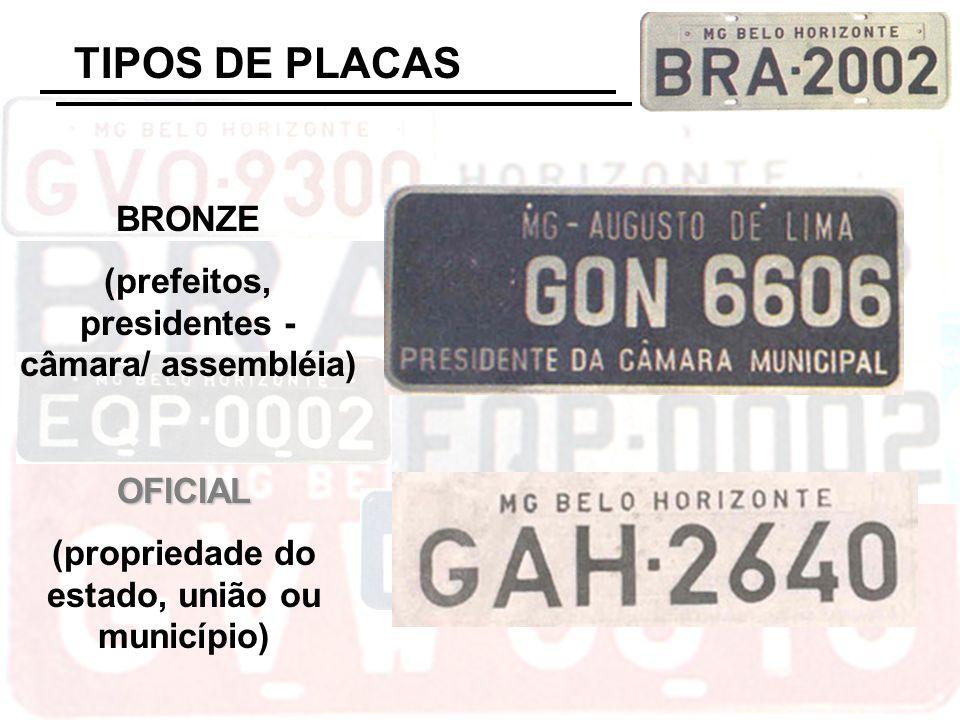 TIPOS DE PLACAS BRONZE (prefeitos, presidentes - câmara/ assembléia)