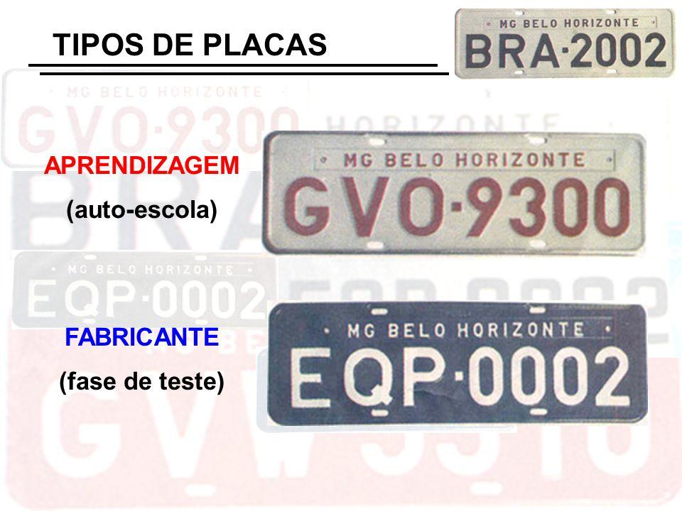 TIPOS DE PLACAS APRENDIZAGEM (auto-escola) FABRICANTE (fase de teste)