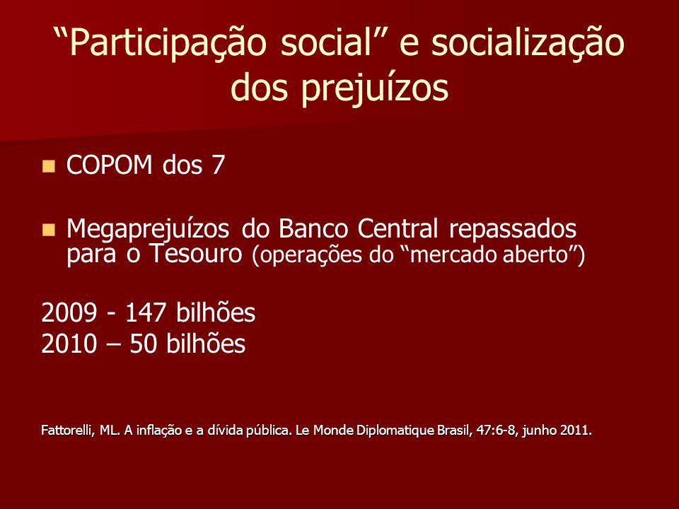 Participação social e socialização dos prejuízos
