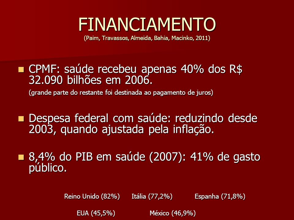 FINANCIAMENTO (Paim, Travassos, Almeida, Bahia, Macinko, 2011)