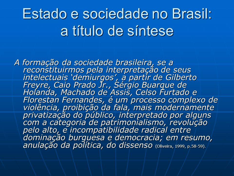 Estado e sociedade no Brasil: a título de síntese