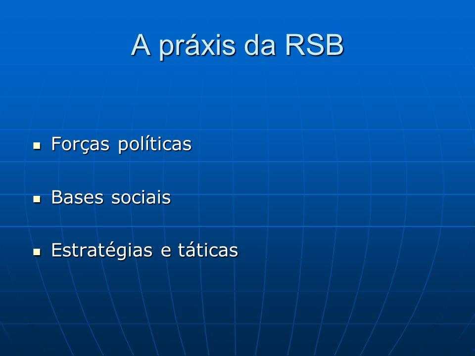 A práxis da RSB Forças políticas Bases sociais Estratégias e táticas