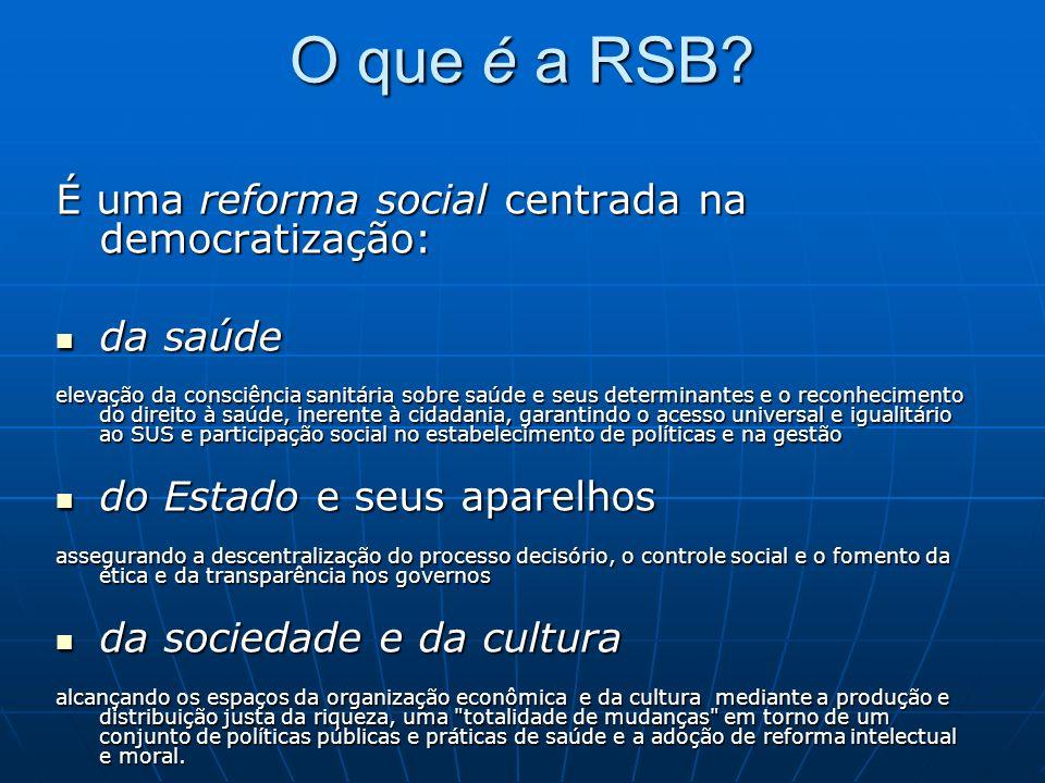 O que é a RSB É uma reforma social centrada na democratização: