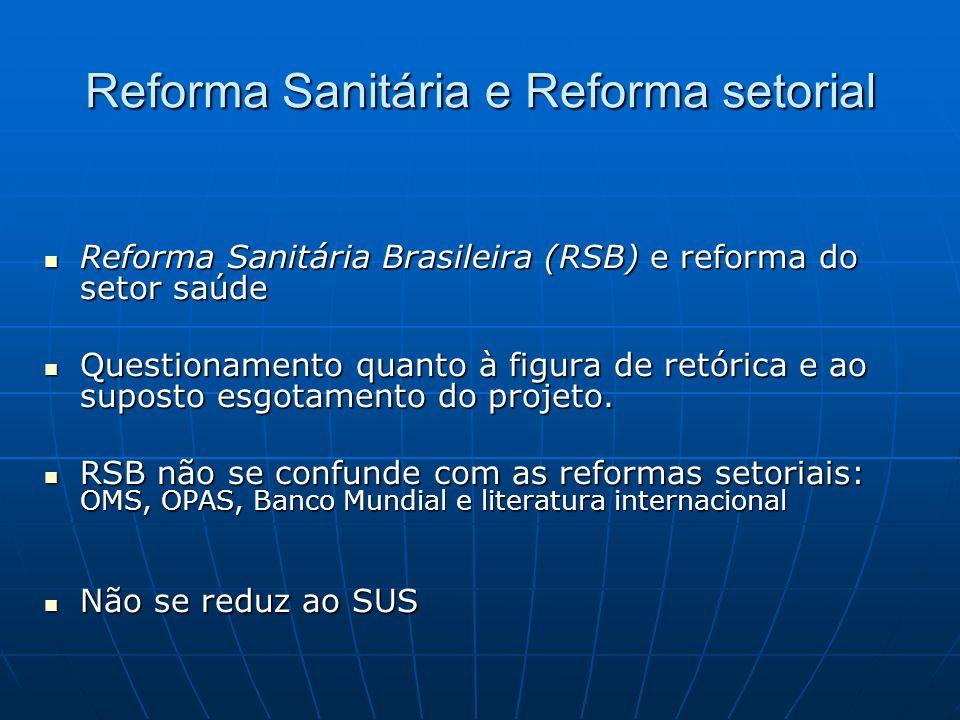 Reforma Sanitária e Reforma setorial