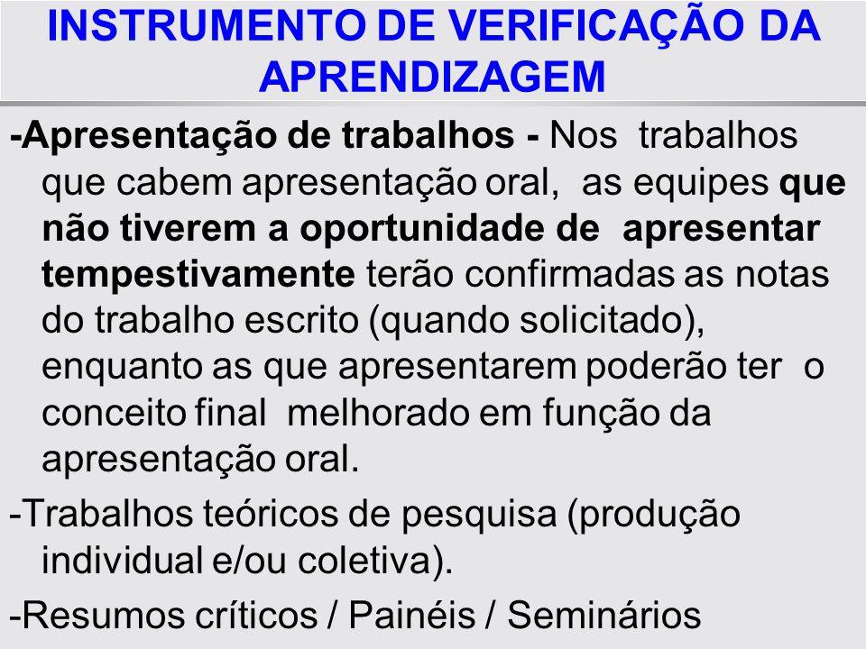 INSTRUMENTO DE VERIFICAÇÃO DA APRENDIZAGEM