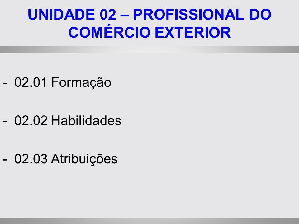 UNIDADE 02 – PROFISSIONAL DO COMÉRCIO EXTERIOR