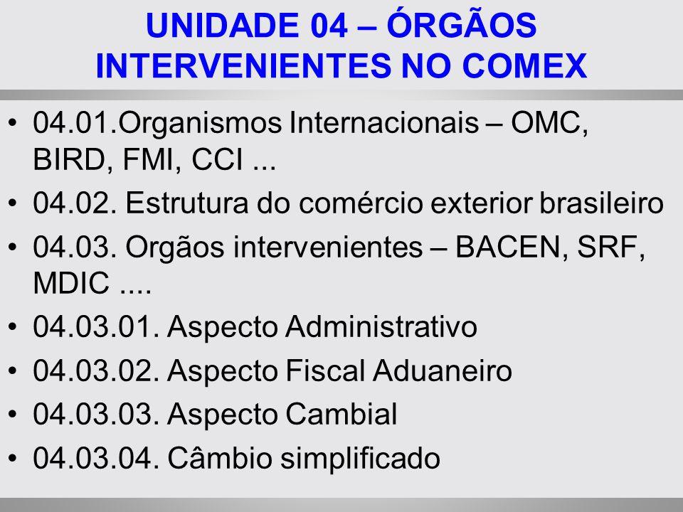 UNIDADE 04 – ÓRGÃOS INTERVENIENTES NO COMEX