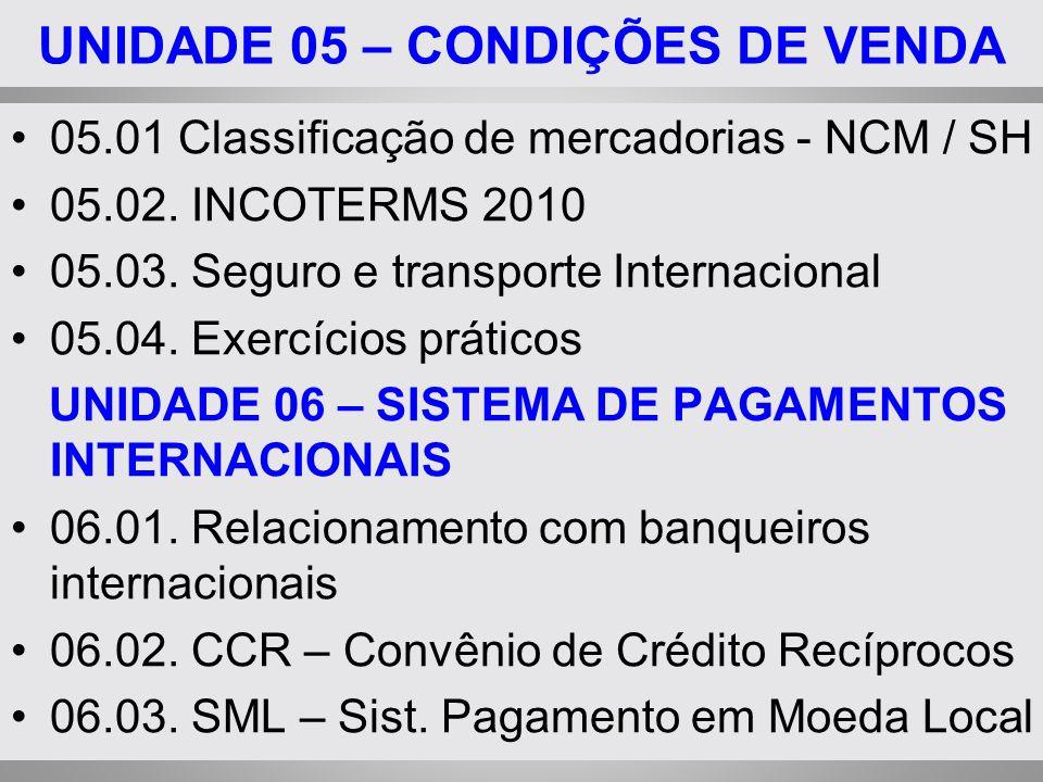 UNIDADE 05 – CONDIÇÕES DE VENDA