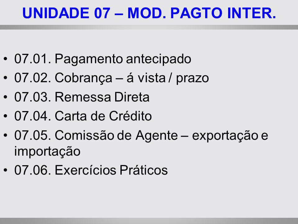 UNIDADE 07 – MOD. PAGTO INTER.