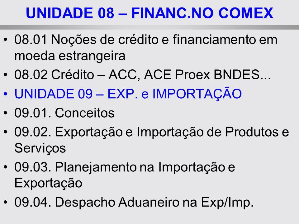 UNIDADE 08 – FINANC.NO COMEX