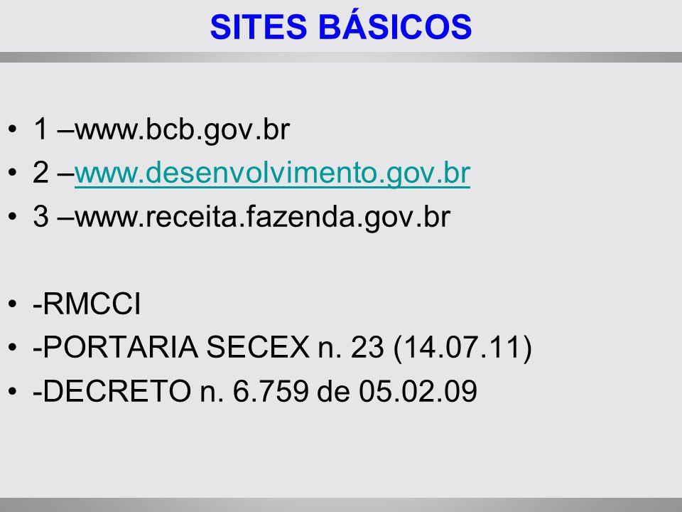 SITES BÁSICOS 1 –www.bcb.gov.br 2 –www.desenvolvimento.gov.br