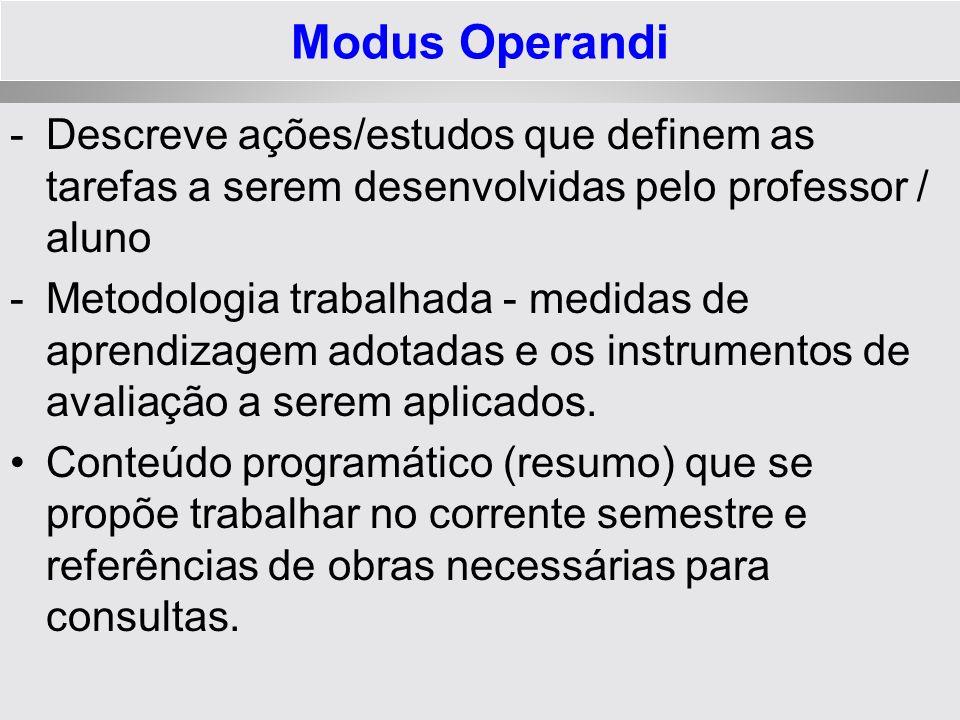 Modus Operandi Descreve ações/estudos que definem as tarefas a serem desenvolvidas pelo professor / aluno.