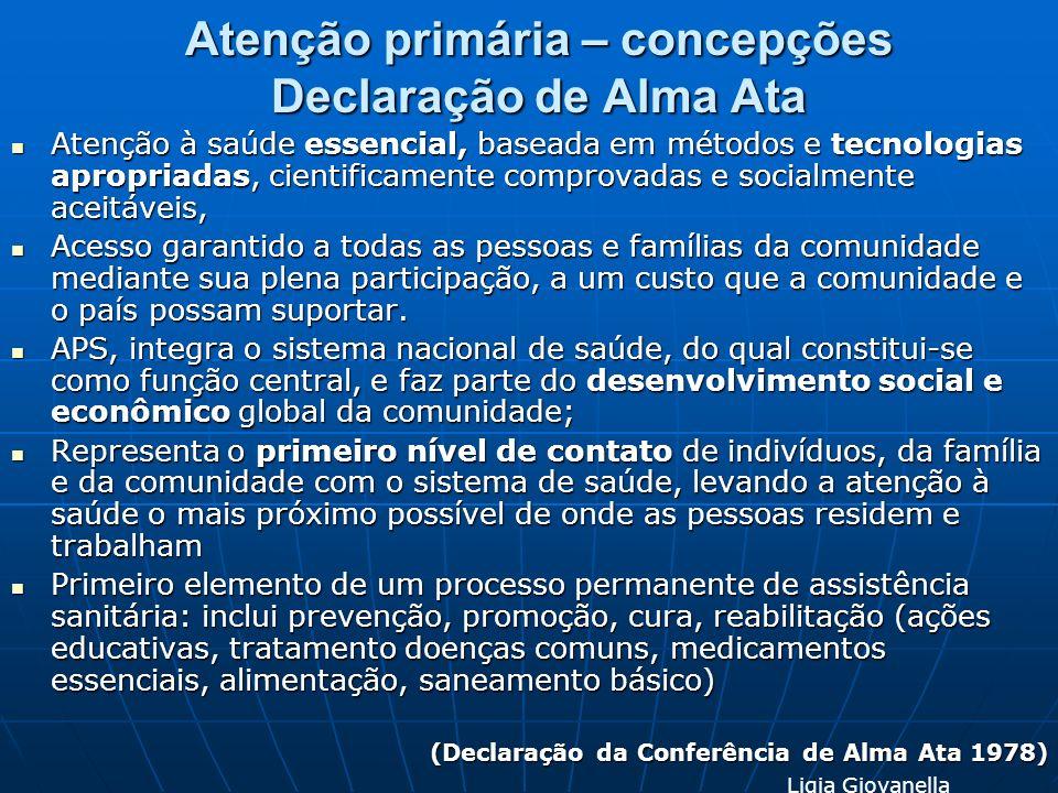 Atenção primária – concepções Declaração de Alma Ata