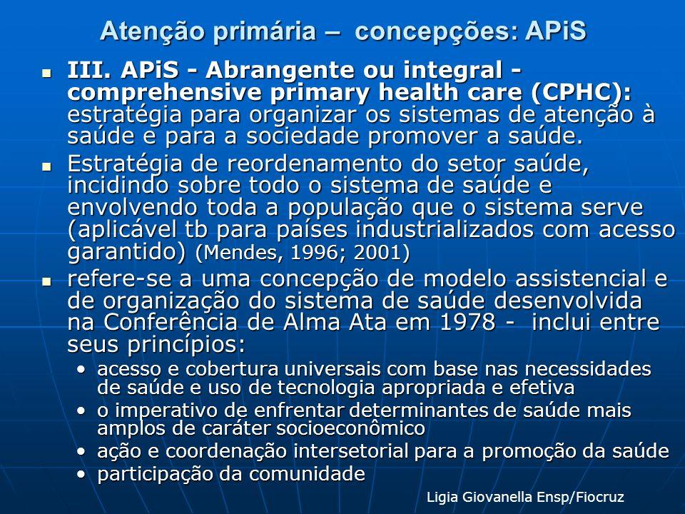Atenção primária – concepções: APiS