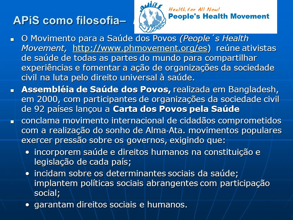 APiS como filosofia– People´s Health Movement