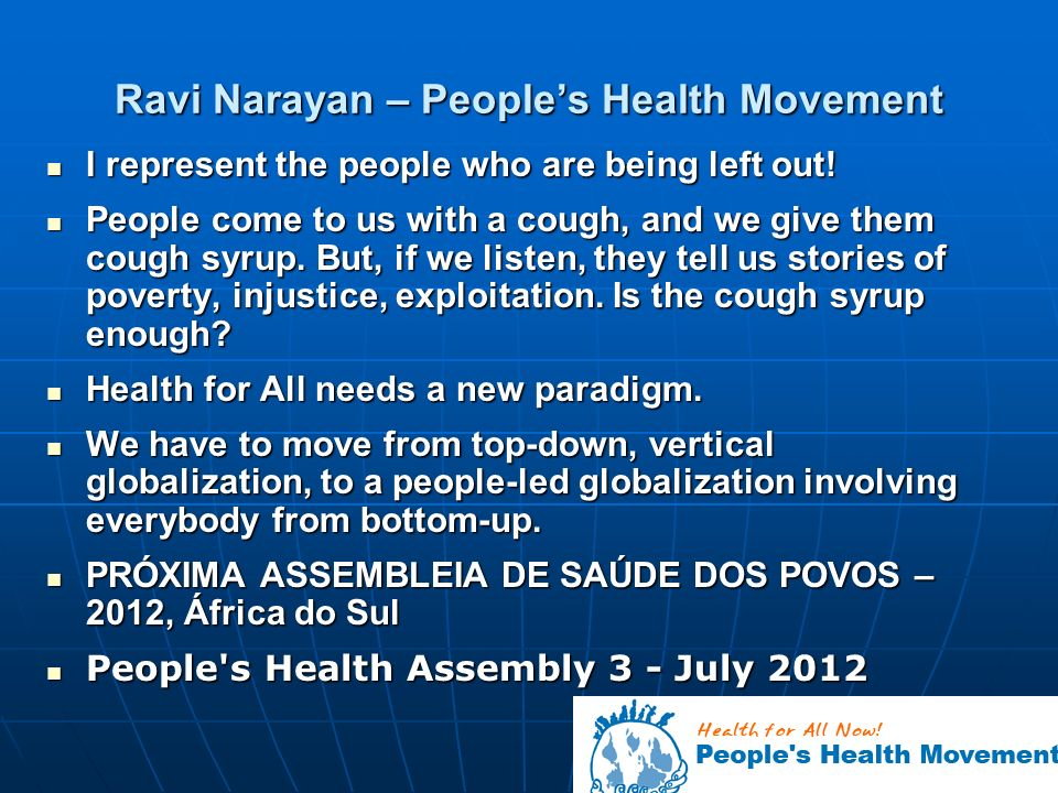 Ravi Narayan – People's Health Movement