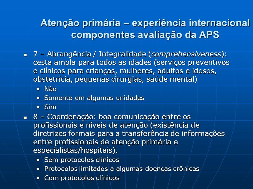 Atenção primária – experiência internacional componentes avaliação da APS