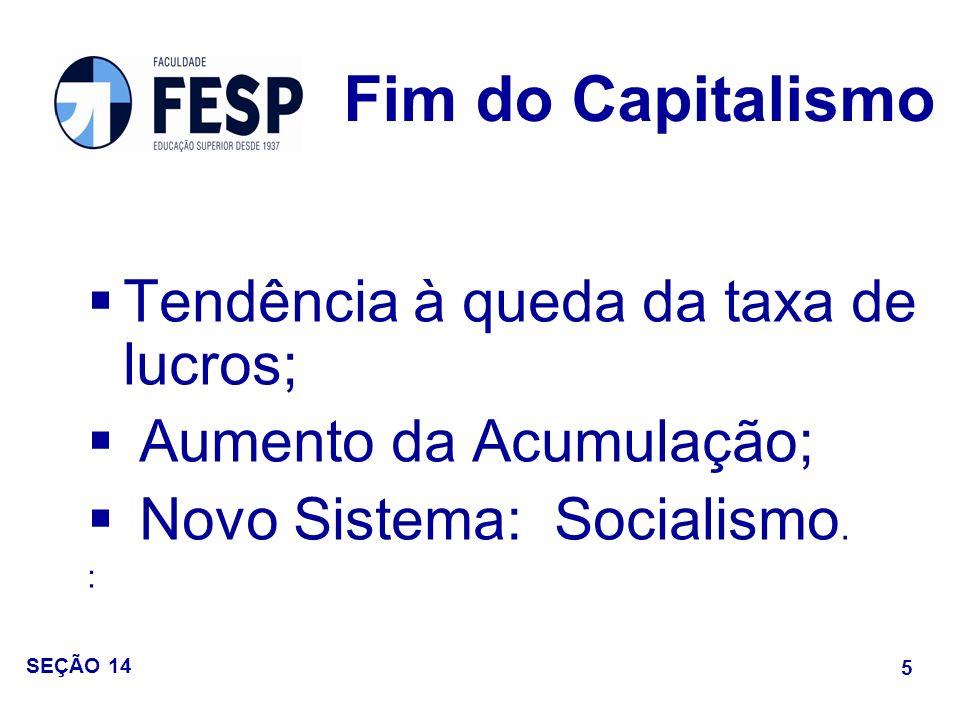 Fim do Capitalismo Tendência à queda da taxa de lucros;