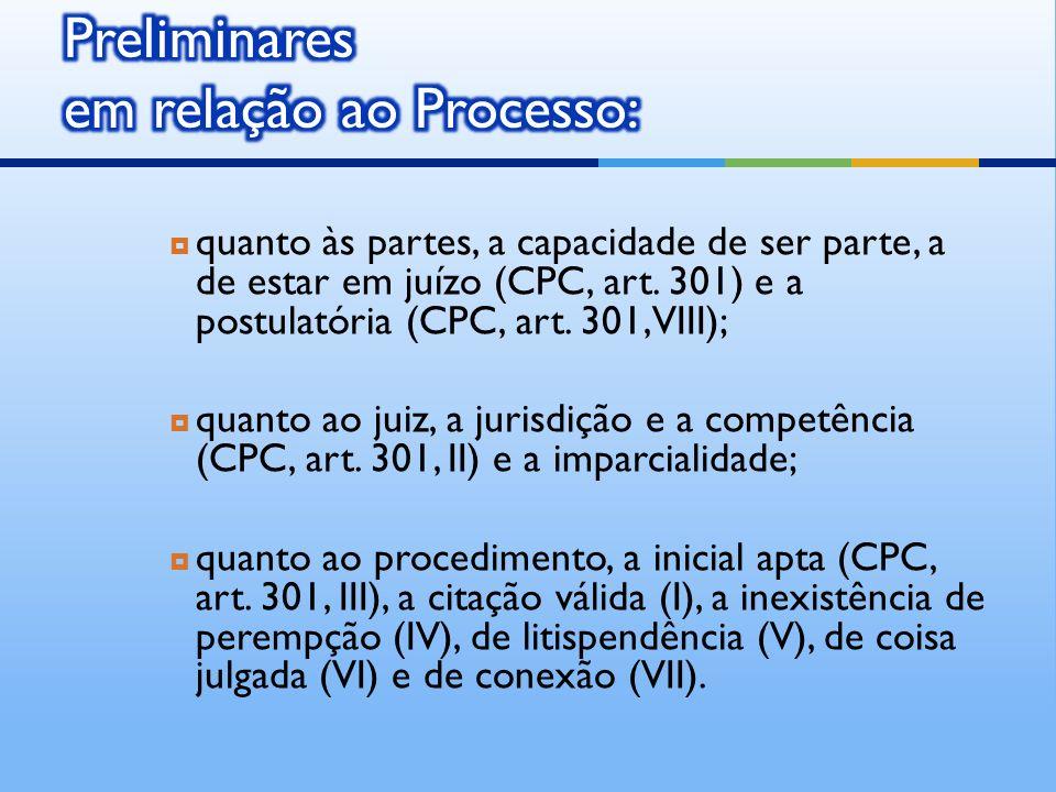 Preliminares em relação ao Processo: