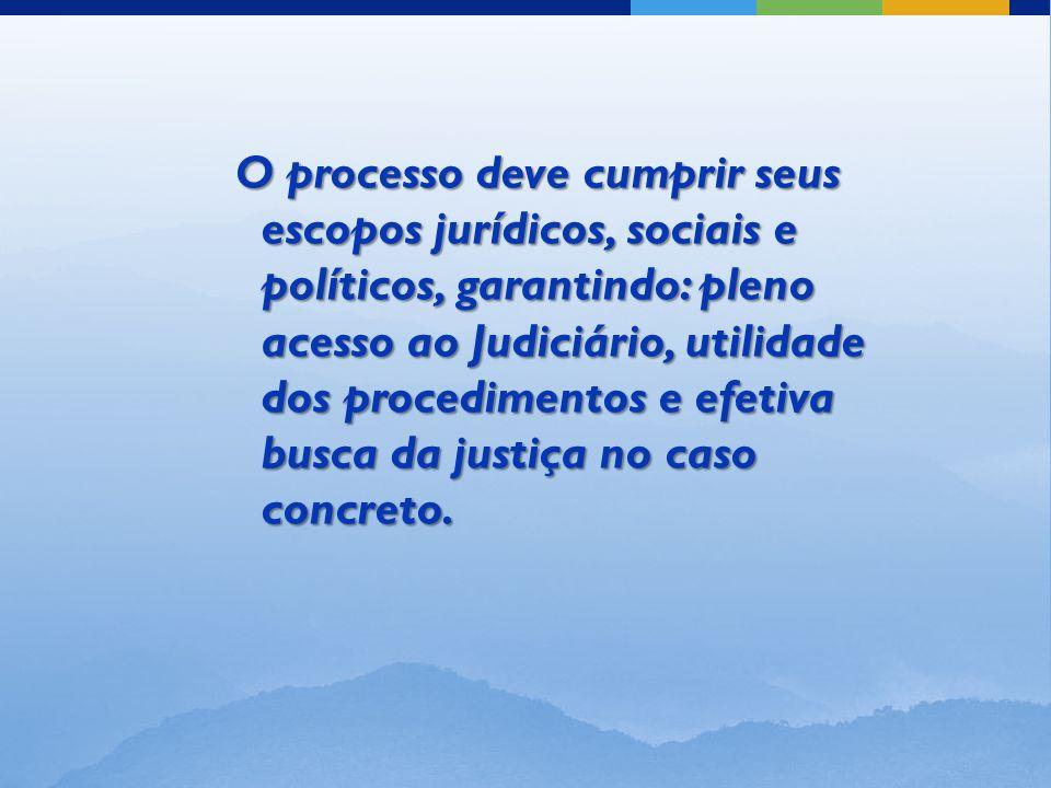 O processo deve cumprir seus escopos jurídicos, sociais e políticos, garantindo: pleno acesso ao Judiciário, utilidade dos procedimentos e efetiva busca da justiça no caso concreto.