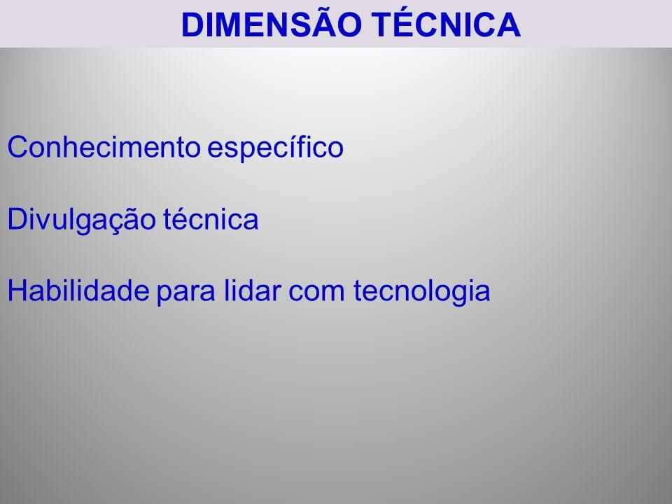 DIMENSÃO TÉCNICA Conhecimento específico Divulgação técnica