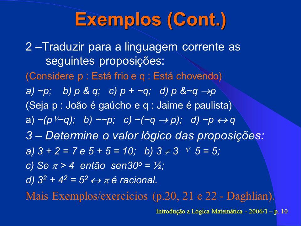 Introdução a Lógica Matemática - 2006/1 – p. 10