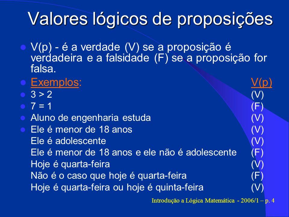 Valores lógicos de proposições