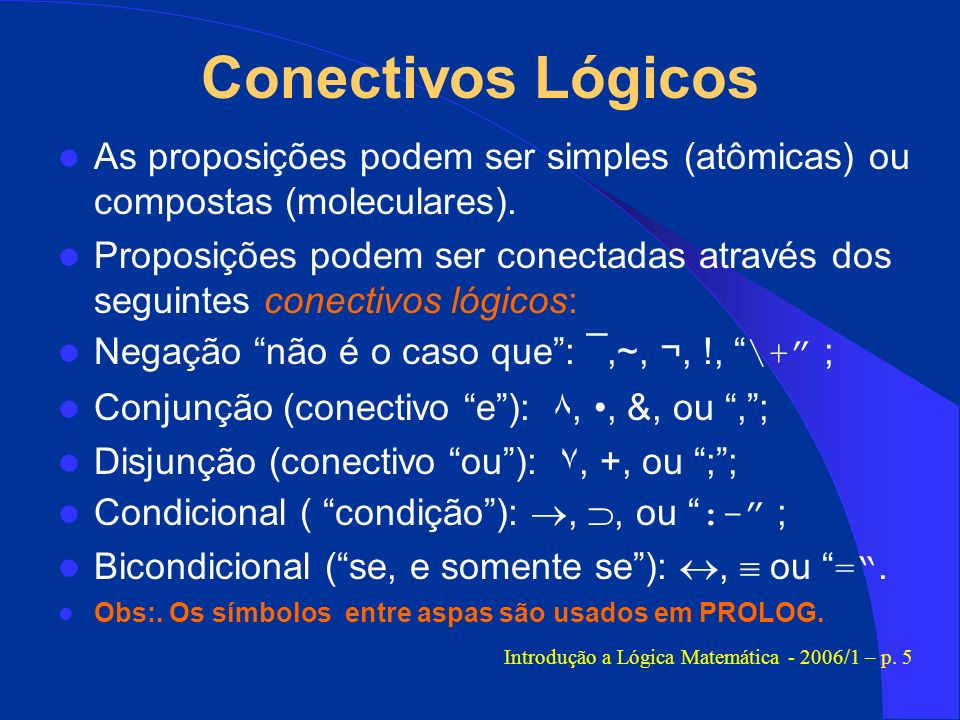 Introdução a Lógica Matemática - 2006/1 – p. 5