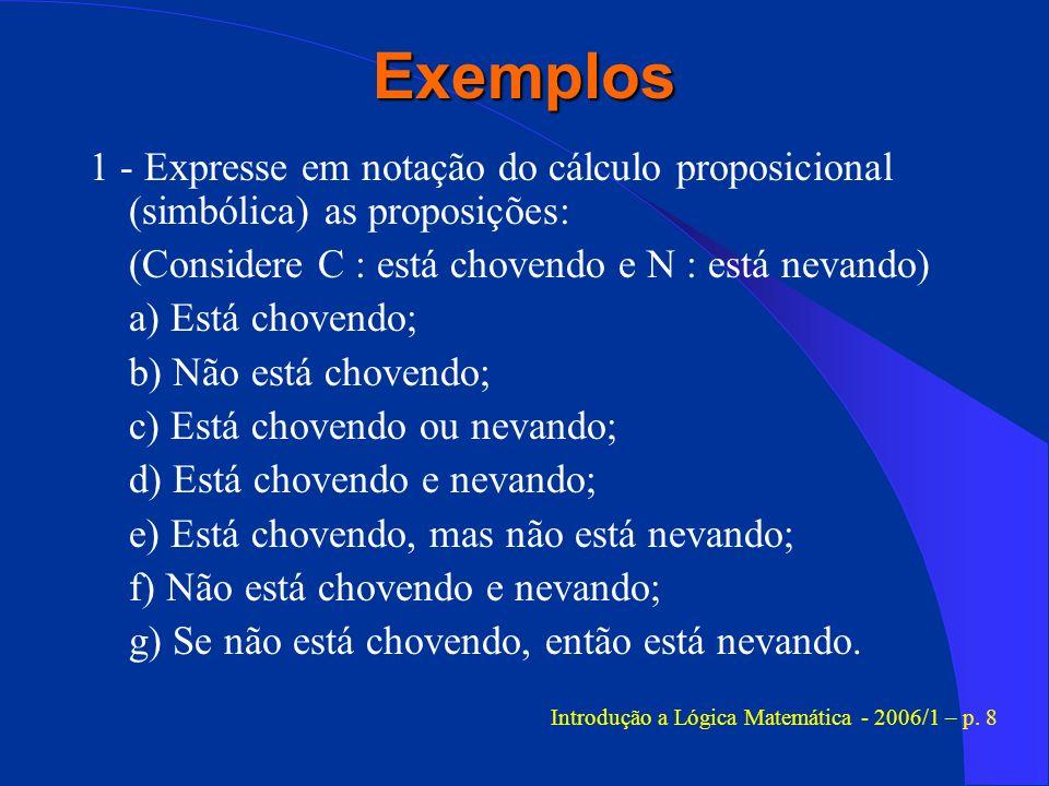 Introdução a Lógica Matemática - 2006/1 – p. 8
