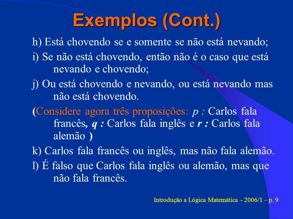 Introdução a Lógica Matemática - 2006/1 – p. 9