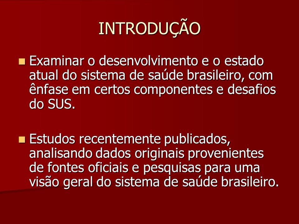 INTRODUÇÃOExaminar o desenvolvimento e o estado atual do sistema de saúde brasileiro, com ênfase em certos componentes e desafios do SUS.