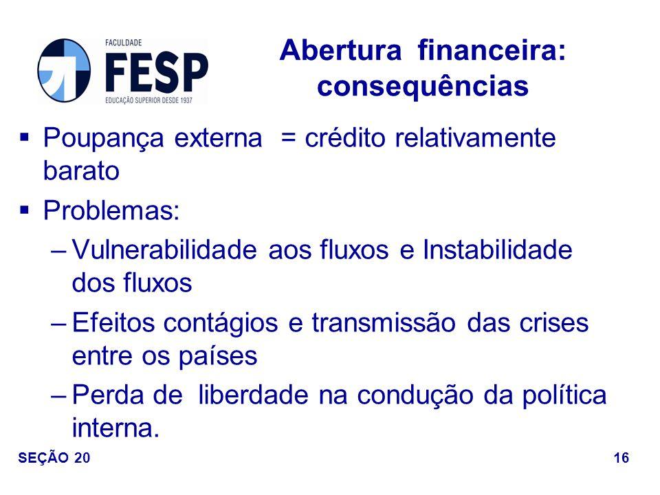 Abertura financeira: consequências