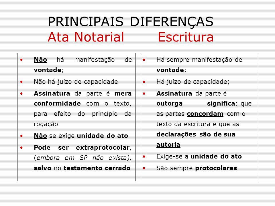 PRINCIPAIS DIFERENÇAS Ata Notarial Escritura