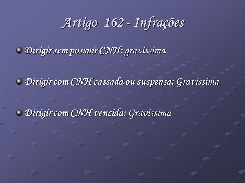 Artigo 162 - Infrações Dirigir sem possuir CNH: gravíssima