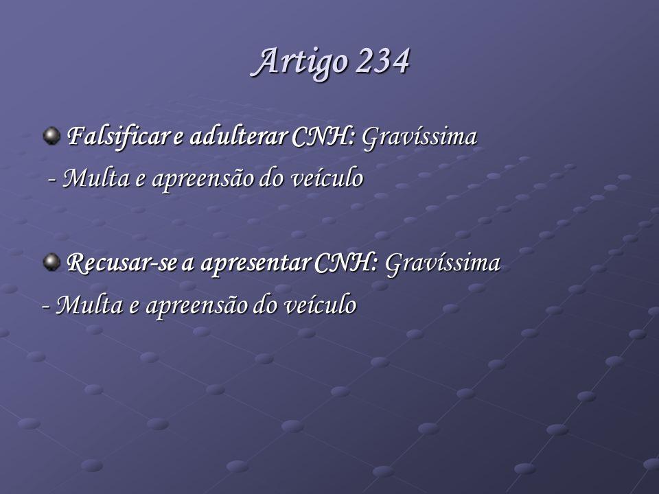 Artigo 234 Falsificar e adulterar CNH: Gravíssima