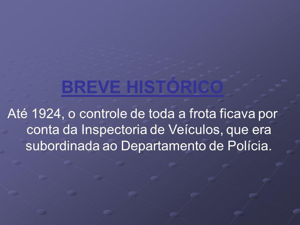 BREVE HISTÓRICO Até 1924, o controle de toda a frota ficava por conta da Inspectoria de Veículos, que era subordinada ao Departamento de Polícia.