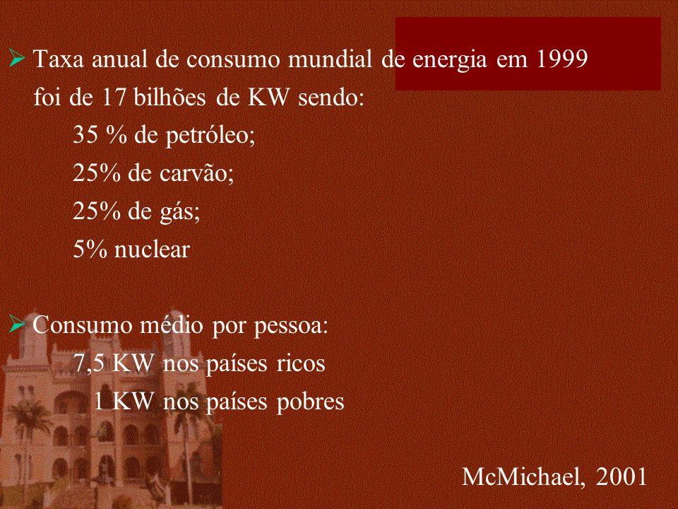 Taxa anual de consumo mundial de energia em 1999