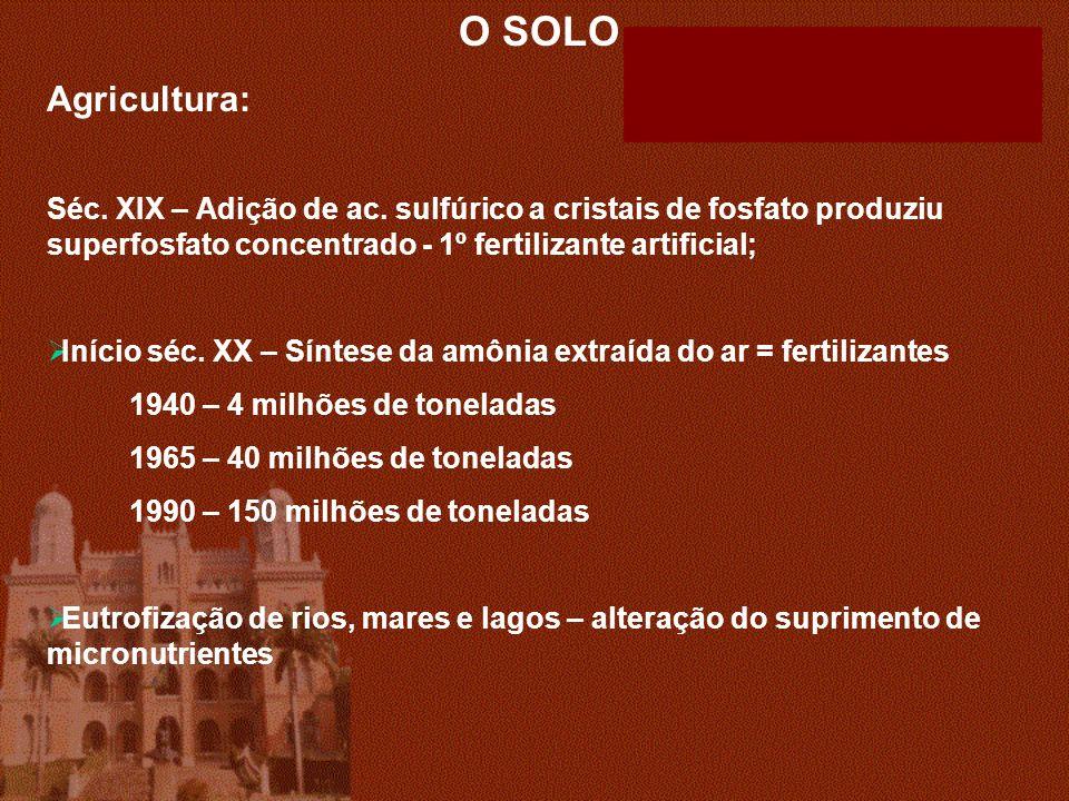 O SOLO Agricultura: Séc. XIX – Adição de ac. sulfúrico a cristais de fosfato produziu superfosfato concentrado - 1º fertilizante artificial;