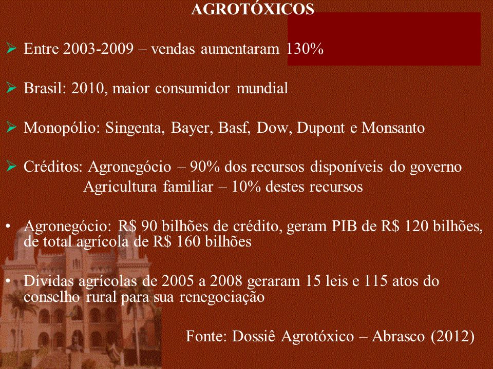 AGROTÓXICOS Entre 2003-2009 – vendas aumentaram 130% Brasil: 2010, maior consumidor mundial.