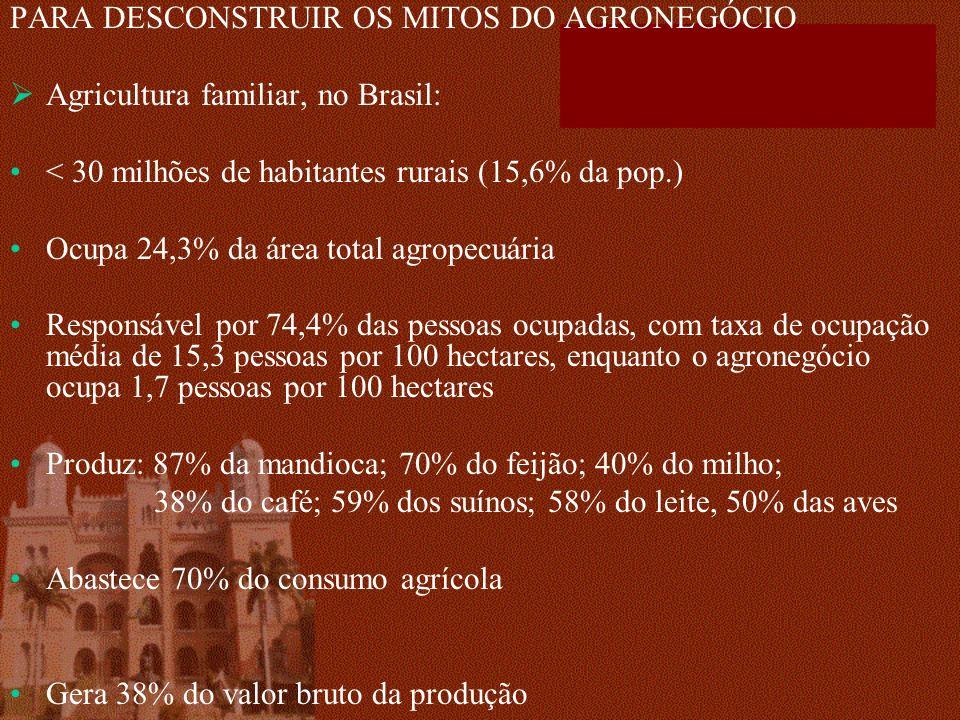 PARA DESCONSTRUIR OS MITOS DO AGRONEGÓCIO
