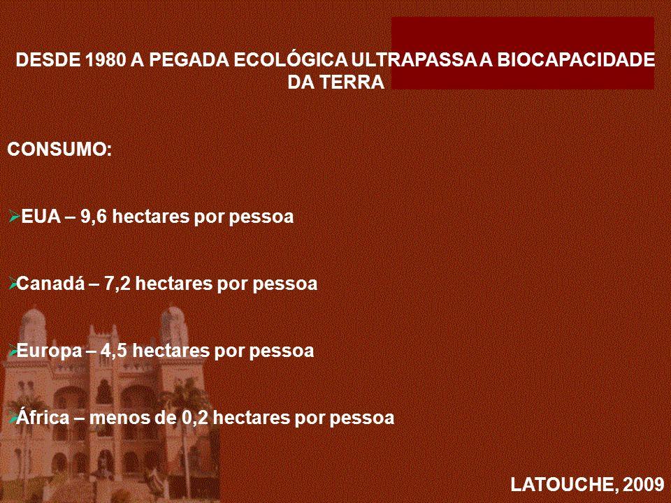 DESDE 1980 A PEGADA ECOLÓGICA ULTRAPASSA A BIOCAPACIDADE DA TERRA