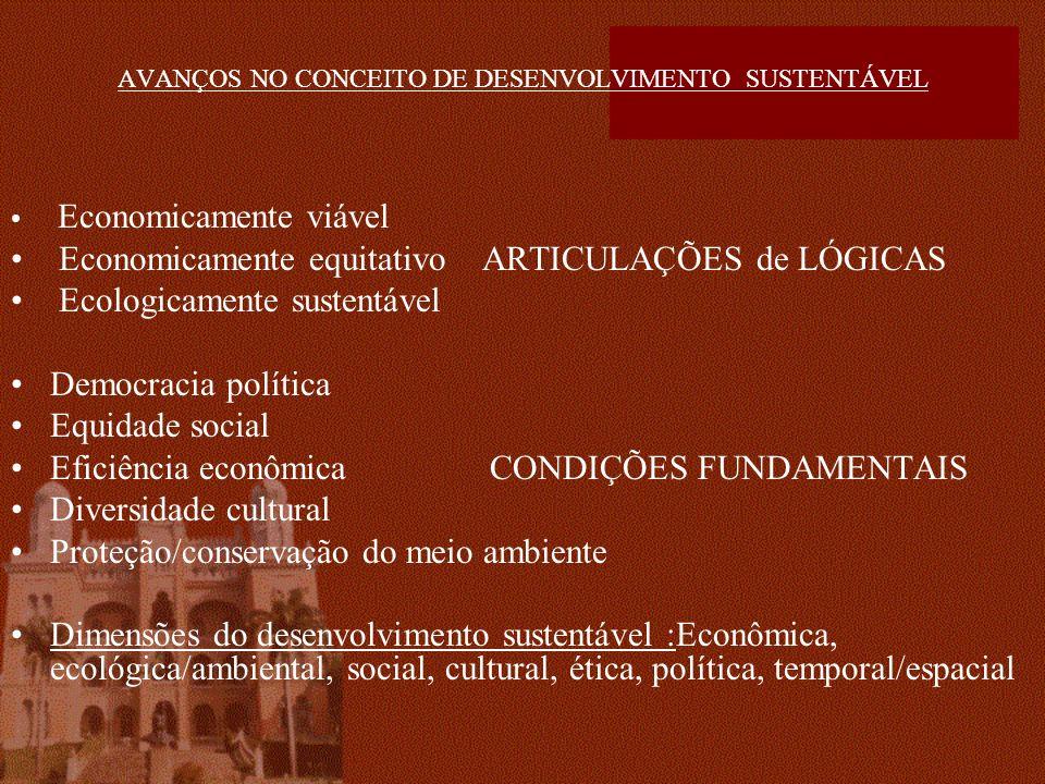 AVANÇOS NO CONCEITO DE DESENVOLVIMENTO SUSTENTÁVEL