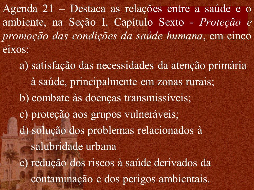 Agenda 21 – Destaca as relações entre a saúde e o ambiente, na Seção I, Capítulo Sexto - Proteção e promoção das condições da saúde humana, em cinco eixos:
