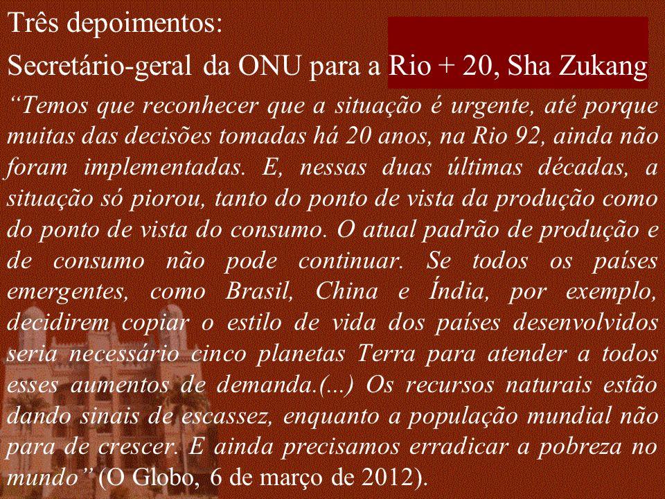 Secretário-geral da ONU para a Rio + 20, Sha Zukang