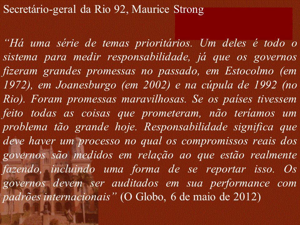 Secretário-geral da Rio 92, Maurice Strong