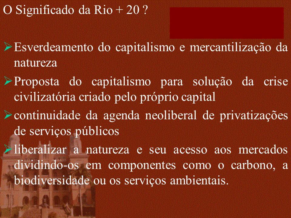 O Significado da Rio + 20 Esverdeamento do capitalismo e mercantilização da natureza.