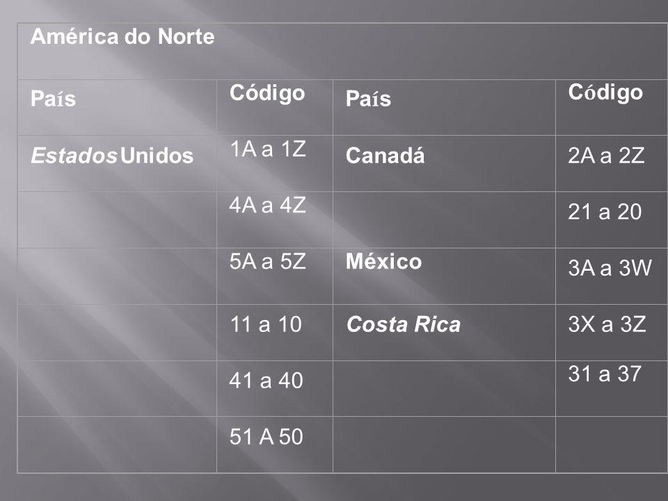 América do Norte País Código Estados Unidos 1A a 1Z Canadá 2A a 2Z