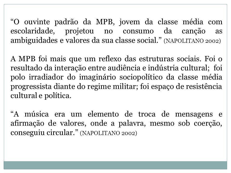 O ouvinte padrão da MPB, jovem da classe média com escolaridade, projetou no consumo da canção as ambiguidades e valores da sua classe social. (NAPOLITANO 2002)
